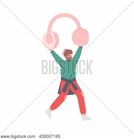 Podcast Or Spoken Episodic Serie Listening With Man Character Carrying Headphones Vector Illustratio