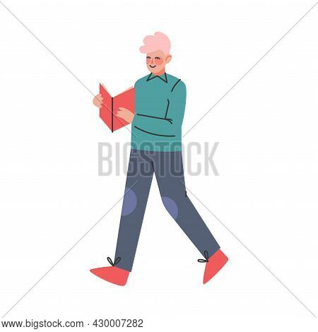 Pink Haired Boy Teenager In Casual Wear Walking And Reading Book Vector Illustration