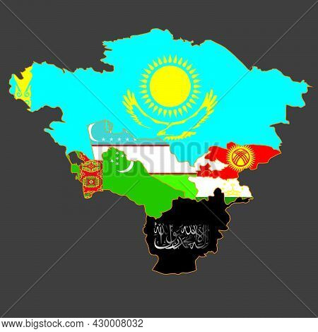 Map Of Central Asia With Afghanistan Captured By The Taliban. Taliban Sign On The Map Of Afghanistan