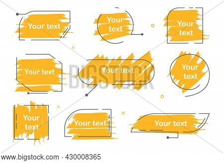 Set Of Yellow Quote Box Frame On White Background. Quote Box Icon. Texting Quote Boxes. Blank Brush