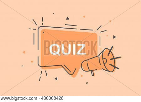 Cute Quiz Icon Symbol On Pastel Orange Background. Answer Question Sign. Thought Speech Bubble With