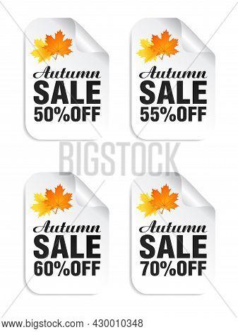 Autumn Sale White Stickers Set With Autumn Leaves. Autumn Sale 50%, 55%, 60%, 70% Off. Vector Illust