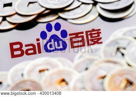 Kazan, Russia - August 16, 2021:  Baidu Is A Chinese Multinational Technology Company. Baidu Logo Su