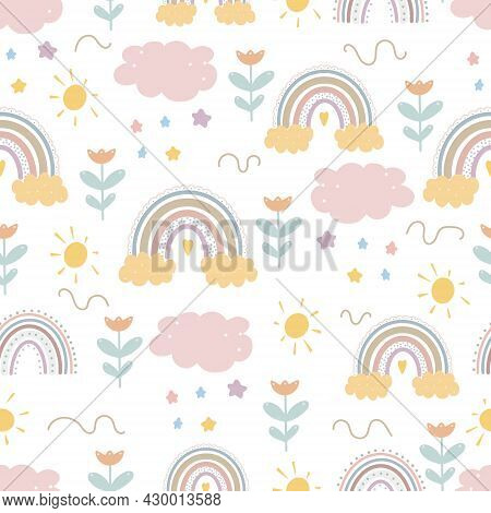 Cute Rainbow Patterns Creative Childish Print For Fabric, Wrapping, Textile, Wallpaper, Apparel. Vec