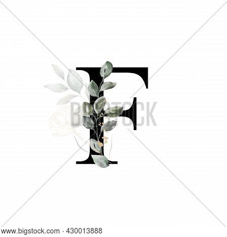 Capital Letter F Decorated With Golden Flower And Leaves. Letter Of The English Alphabet With Floral