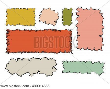 Set Of Color Old Paper Background Grunge Vintage. Scraps Of Paper With An Uneven Edge. Vector