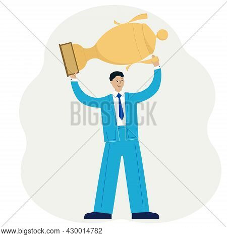 Business Success Concept. A Man In A Suit Above His Head Holding A Gold Winner Cup