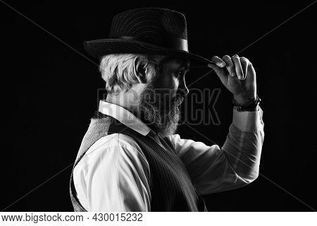 Past Centuries Trend. Retro Gentlemen. Mature Handsome Man. Man In Vintage Hat Side View. Brutal Bea