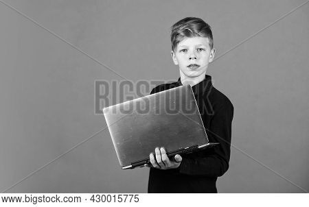 Modern Profession. Modern Education For Kids. Study Programming. Student With Laptop Computer. Child