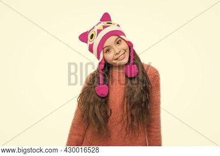 Child Knitted Hat Isolated On White. Cold Winter Weather. Warm Clothes And Accessory Fashion For Kid
