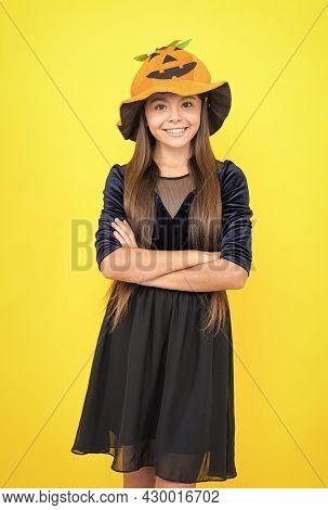 Happy Halloween. Smiling Child In Pumpkin Hat. Kid Wear Squash Hat On Head. Pumpkin Costume. Childho