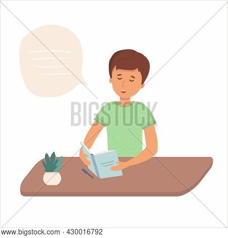 Little Boy Is Holding Open Books And Reading. Vector Concept Illustration.the Child Does His Homewor