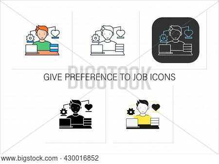 Workaholic Icons Set.work Before Personal Lives. Give Preference To Job. Man Works On Laptop. Hard W