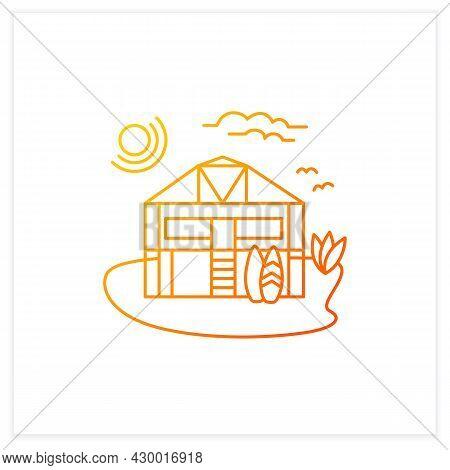 Beach Hut Gradient Icon. Wooden Comfortable House On Beach. Surfboards. Relaxing Place. Rest Concept