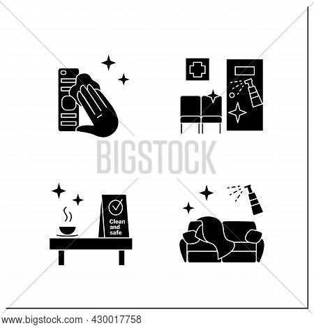 Surface Disinfection Glyph Icons Set. Tv Remote, Couch, Clinic And Cafe Disinfection. Safety Space A