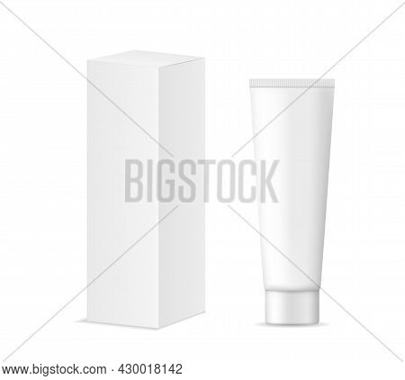 Cosmetic Tube With White Cardboard Box Package. Mockup Of Tube With Cream, Lotion, Toothpaste, Balm