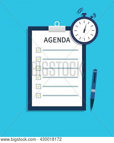 Agenda For Meeting. List Of Event With Remind. Flat Template Of Schedule With Time For Business Plan