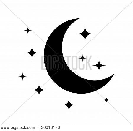 Moon And Star. Black Icon Of Moon For Night. Pictogram Of Crescent And Star. Logo For Sleep And Baby