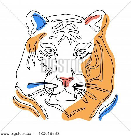 Tiger Head One Line Art Drawing In Trendy Minimal Style. Linear Portrait Of A Wild Cat. Hand-drawn A