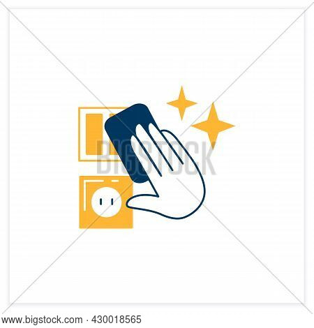 Surfaces Disinfection Flat Icon. Light Switchers Cleaning Linear Pictogram. Concept Of Household Rou