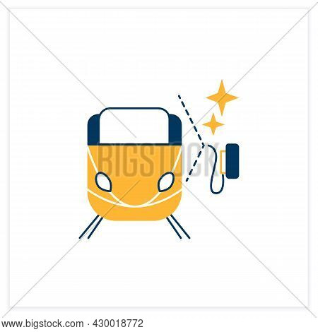 Train Cleaning Flat Icon.railroad Carriage Disinfection Linear Pictogram. Concept Of Hygiene, Corona