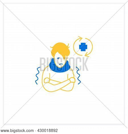 Ill Person Flat Icon. Covid Reinfected Or Re-ill Person Suffering Shivers And High Fever. Covid Dise