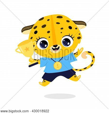 Cute Cartoon Flat Doodle Animals Sport Winners With Gold Medal And Cup. Leopard Cheetah Sport Winner