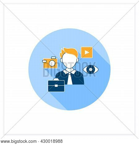 Visual Communication Flat Icon. Communicate Using Signs, Typography, Drawing, Video Clip, Advertisin