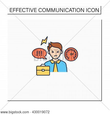 Ineffective Communication Color Icon.uncontrolled Emotions.stressful Situation. Emotional Overwhelme