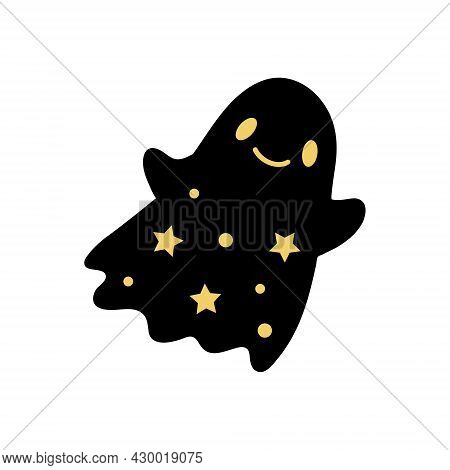 Cute Halloween Ghost With Gold Stars. Boo. Vector Baby Character