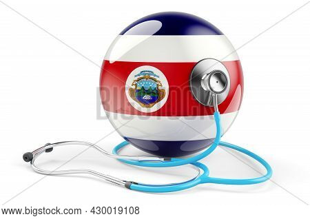 Costa Rican Flag With Stethoscope. Health Care In Costa Rica Concept, 3d Rendering Isolated On White