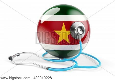 Surinamese Flag With Stethoscope. Health Care In Suriname Concept, 3d Rendering Isolated On White Ba