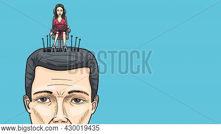 The Thoughts And Actions Of A Man Are Controlled By A Woman. A Cartoon About The Relationship Betwee