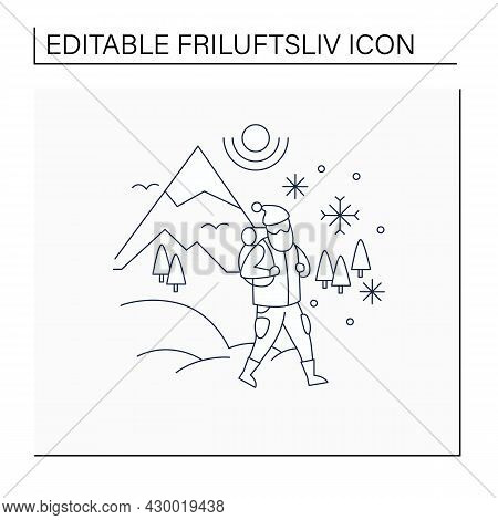 Friluftsliv Line Icon. Hiking. Snowy Weather. Man Walking. Mountain Winter Landscape.nordic Outdoor