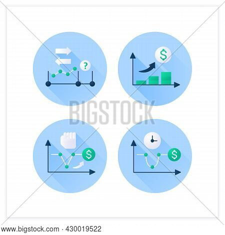 Economic Recovery Flat Icons Set. U, V Shaped Recovery, Initial Expansion. Economy Variations. Growt