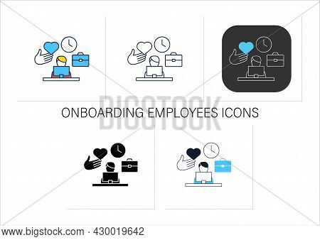 Onboarding Employees Icons Set. Organizational Socialization. Helping New Hires Adjust To Job. Frien