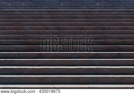 Stone Stairs. Granite Up Stairway. Whine Stairs Before The Bridge And Monuments. Way Up On Staircase