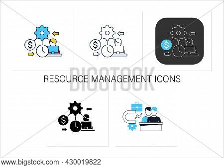 Resource Management Icons Set.person Manages Various Resources Effectively On Laptop.workers Budgets