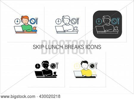 Workaholic Icons Set.skip Lunch Breaks Through Work. Man At Laptop. Hard Working.overworking Concept