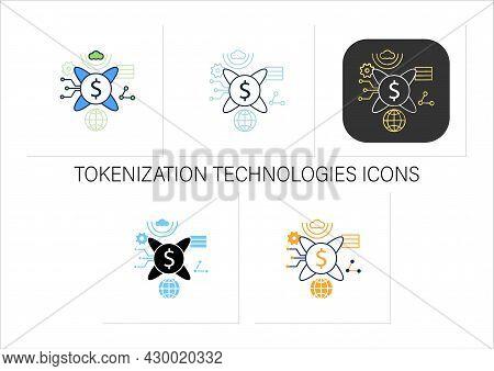 Tokenization Technologies Icons Set.software Prevents Credit Card Theft Information. Digital Transfo