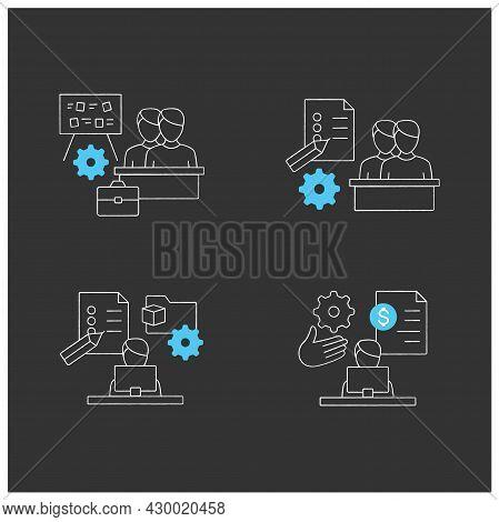 Talent Management Chalk Icons Set.payroll Management, Project Management, Employee Task Management,