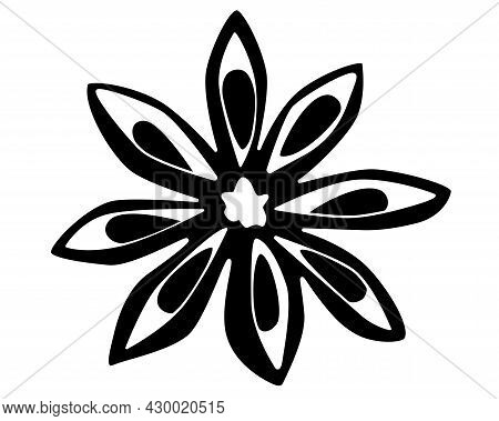 Star Anise, Spices Vector Black Silhouette For Logo Or Pictogram. Spices - Star Anise - Aromatherapy