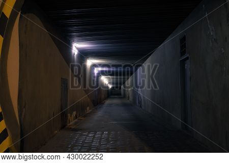 Dark Underground Passage At Night Criminal Time With Electricity Lighting And Shadow Dusk Environmen