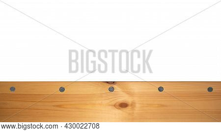 Light Wood Texture Surface With Natural Pattern And Metal Nail Heads Or Hats. Wooden Pine Board Isol