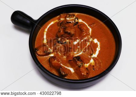 Butter Chicken Curry Or Masala, Indian Food Delicacy, Chicken Cooked In Rich Tomato Cashewnut Gravy