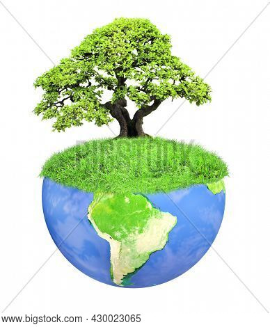 Eco concept. Tree on Earth. Fantasy floating island with green grass and tree. Paradise, eco and nature concept. Isolated on white background. 3d render.  Element of this image furnished by NASA