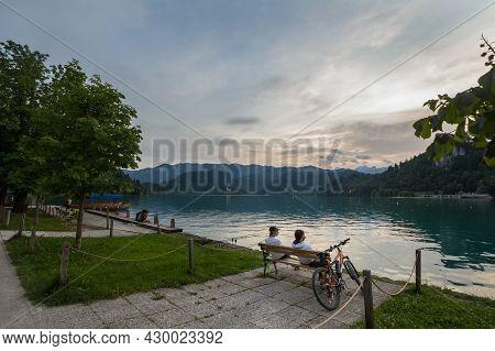 Bled, Slovenia - June 12, 2021: Panorama Of Bled Lake, Blejsko Jezero, With Its Castle, Blejski Hrad