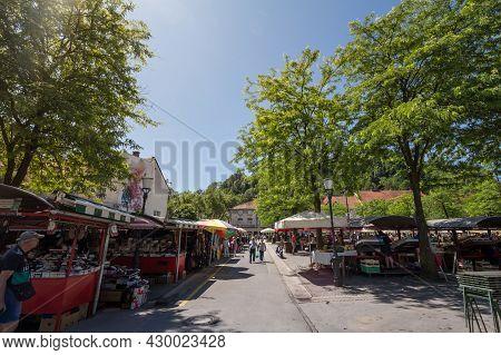 Ljubljana, Slovenia - June 15, 2021: Ljubljana Central Market, Or Osrednja Ljubljanska Trznica, With