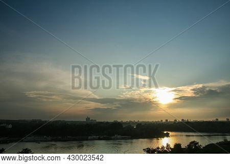 Sunny Summer Sunset Over Usce, The Confluence Between The Sava And The Danube (dunav) River And The