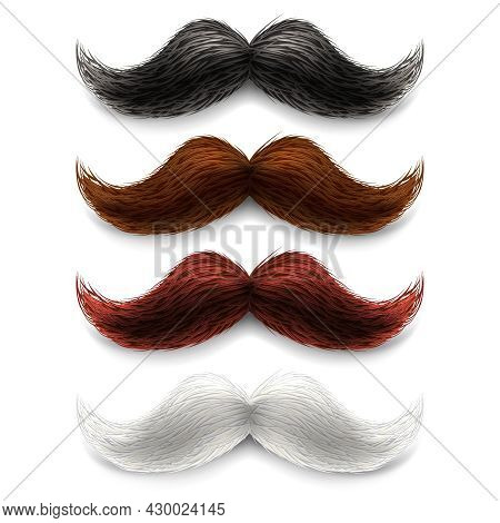 Old Fashion Upper Lip Long Wax Groomed And Trimmed Fake Moustaches Different Color Set Abstract Vect